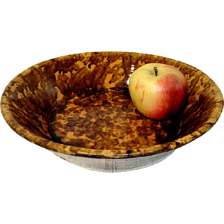 """Unusual 19th C. Decorated 10 3/4"""" Milk Bowl"""