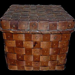 19th C. Lidded Maine Potato Stamp Indian Basket
