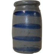 Western PA Stoneware Wax Seal Blue Striped Canning Crock