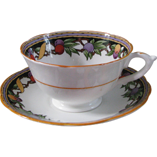 Star Paragon Teacup and Saucer with Fruit Decor