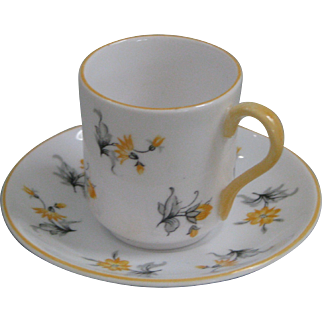 Shelley Miniature Yellow Charm Cup and Saucer in the Canterbury Shape