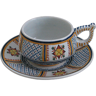 Henriot Quimper Croisille Cup and Saucer