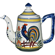 Henriot Quimper Coffee Pot with Rooster Decor