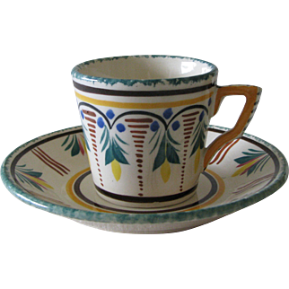 HB Quimper Coffee or Demitasse Cup and Saucer