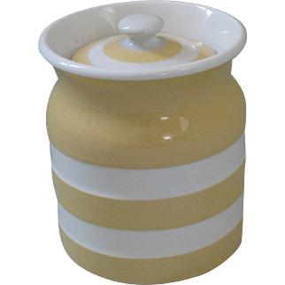 Vintage T.G. Green Yellow Cornish Ware Small Storage Jar