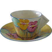 Clarice Cliff Delecia Pansy Solid Conical Handle Breakfast Teacup and Saucer