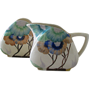 Clarice Cliff Viscaria Cream and Sugar Set in the Trieste Shape