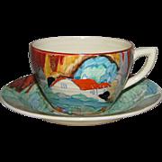 Clarice Cliff 1930's Forest Glen Lynton Shape Teacup and Saucer