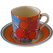 Clarice Cliff Berries Coffee Cup and Saucer circa 1930