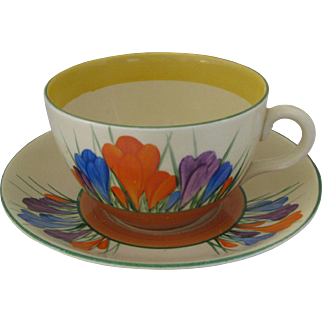 Clarice Cliff Autumn Crocus Large Teacup and Saucer