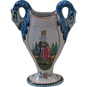 Louis Dufey Swan-handled French Faience Vase