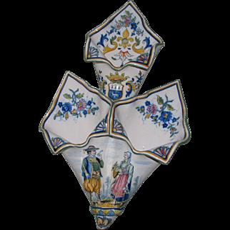 Antique Henriot Quimper Triple Cornet Wall Pocket with Petite Bretonnes