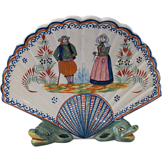 Henriot Quimper Faience Fan-Shaped Vase