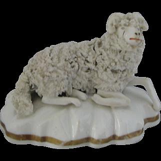 Antique Staffordshire Resting Sheep