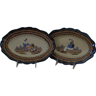 Pair of Breton Broderie Platters with Fine Painting