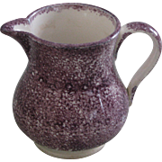 Antique Mulberry Spatter Ware Cream Pitcher or Jug