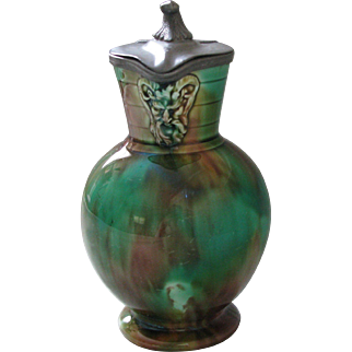 Wedgwood Majolica Syruper in Tortoise Shell Glaze with the Green Man