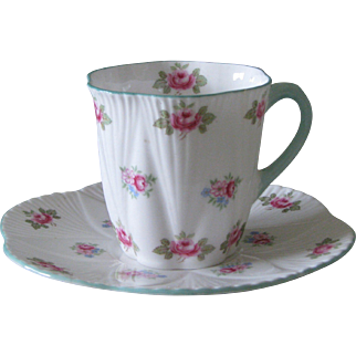 Shelley Rosebud Dainty Shape Demitasse Cup and Saucer