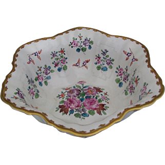 Antique Dresden Hand-Painted Scalloped Bowl