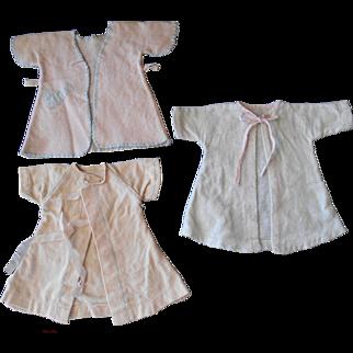 """3 Vintage 1940's Flannel Robes for 14-16"""" Dolls"""