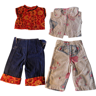 """Jeans, Blouse and Pajamas for 18"""" Doll--Vintage 1930's"""