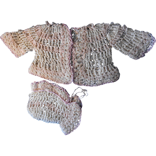 Crochet Sweater and Hat Set, Vintage 1950's