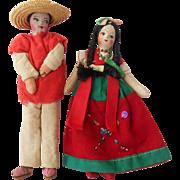 Pair of Vintage Mexican Souvenir Dolls