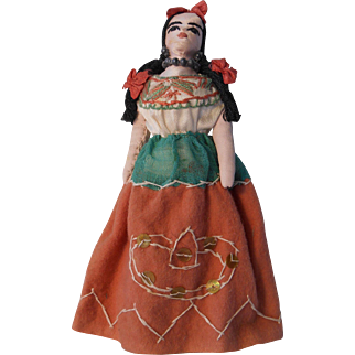 "Vintage Hand Made 8"" cloth doll from Mexico"