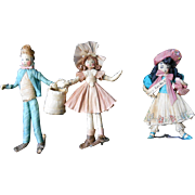 Tiny Nursery Rhyme Trio in Cornhusks--Vintage 1930's-40's