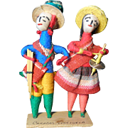 Pair of Vintage 1980's Souvenir Dolls from Venezuela