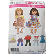 "American Girl or other 18"" Doll Wardrobe Pattern"
