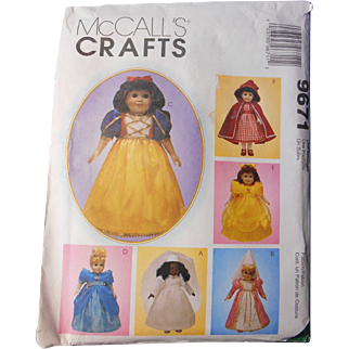 """Storybook Princess Pattern for 18"""" Dolls by McCall's"""