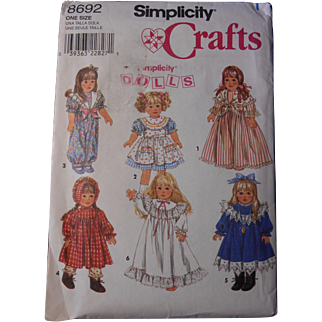 """Simplicity Pattern for Historic & Vintage Styles, American Girl or other 18"""" Dolls"""