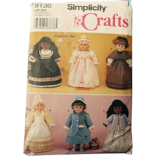 """Historic Dress Pattern by Simplicity for American Girl or other 18"""" Dolls"""