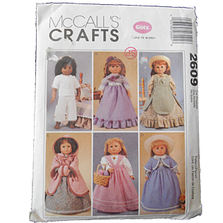 """Pattern for Historic Dresses by McCall's for 18"""" or American Girl Dolls"""