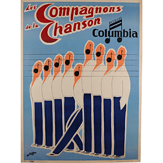 "Original Vintage French Poster Advertising ""Les Compagnons de la Chanson"" 1950's"