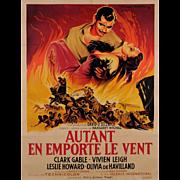 """Original Vintage French Movie Poster for """"Autant En Emporte Le Vent"""" by ROGER SOUBIE 1950"""