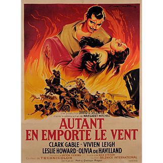 "Original Vintage French Movie Poster for ""Autant En Emporte Le Vent"" by ROGER SOUBIE 1950"