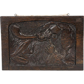 Wooden Plaque Relief Rabbi & Shofar by Boris Schatz ca. 1910