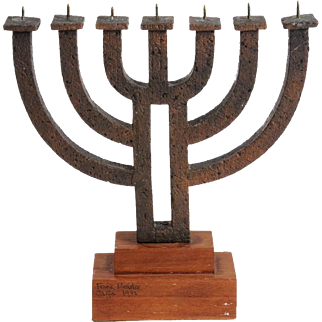 Brass Menorah 7 Candles by Frank Meisler, Jaffa 1972. H. 28cm