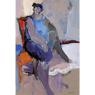 "Early Itzchak Tarkay ""Seated Woman"" Acrylic on cardboard 1980's"