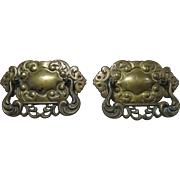 Pair of Victorian Brass Drawer Pulls, Stamped Back Plate, Cast Handles, Original