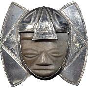 Large Vintage Mexican 900 Silver and Onyx Brooch - Mayan Aztec Warrior