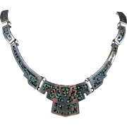 Vintage Plata Sterling Blue and Green Turquoise Necklace ~ 104gms ~