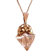 Estate Mother of Pearl Monogrammed Pendant Necklace