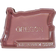 Oregon The Beaver State Wall Plaque Ashtray from Rosemeade Pottery