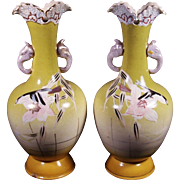 Vintage Japanese Satsuma Art Pottery Vases with  Elephant Handles Rare Pair