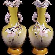 Vintage Japanese Satsuma Art Pottery Vases with  Elephant Handles Rare Pair