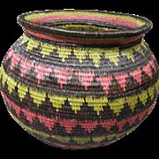 Vintage Wounaan Embera Basket, Orinilda Ortiz, Geometric Triangle Pattern (#3)