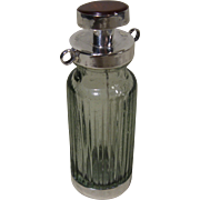 "Circa 1900 Snuff Bottle, Sterling, Glass, Gemstone (Carnelian) on Cap, ""925"""